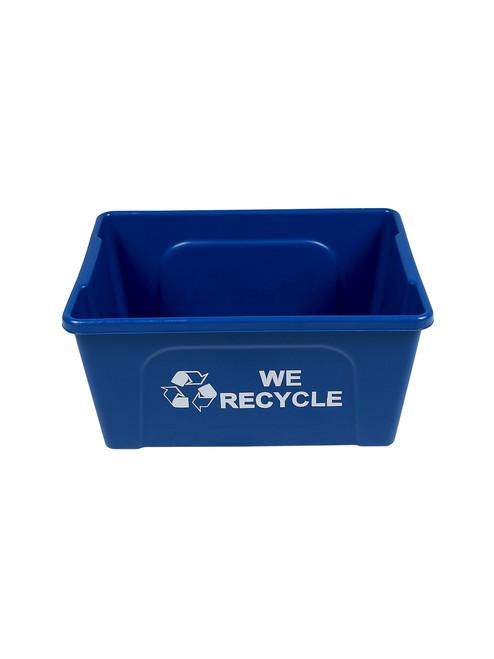 3 Gallon WE RECYCLE Blue Deskside Paper Bin 8113034 (12 Pack)