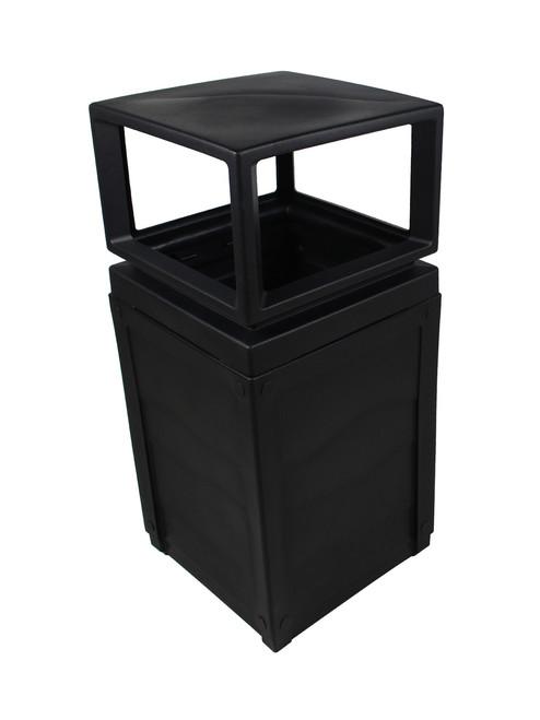 50 Gallon Evolve Cube Covered Trash Can Black 101647