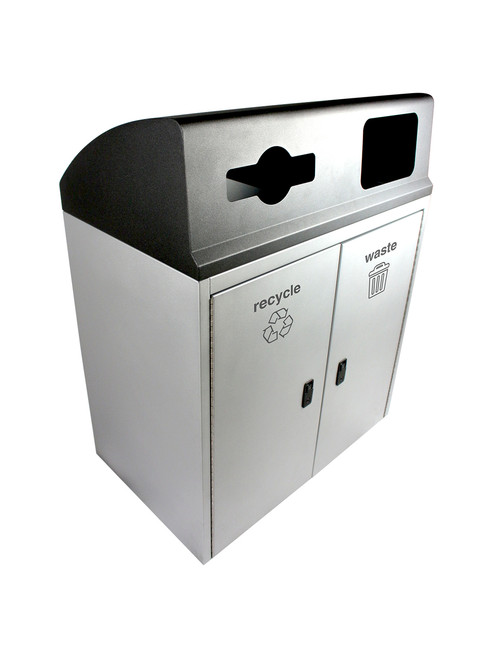 64 Gallon Steel VANTAGE Combo Trash Can and Recycle Bin 101474
