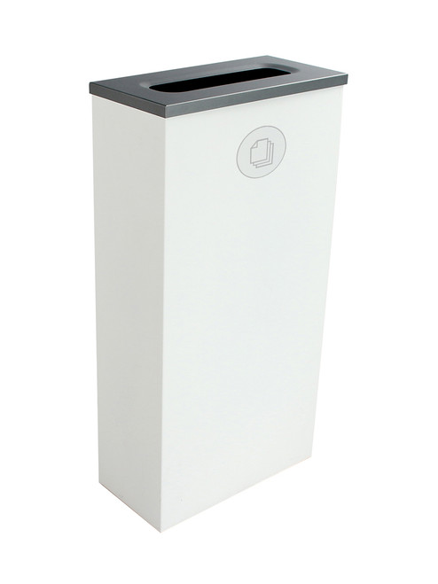 10 Gallon Steel Spectrum Slim Paper Collector Recycle Bin White 8107065-3