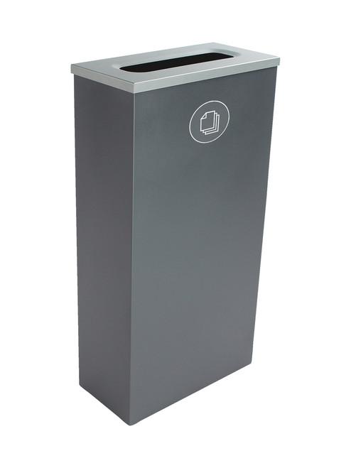 10 Gallon Steel Spectrum Slim Paper Collector Recycle Bin Gray 8107063-3