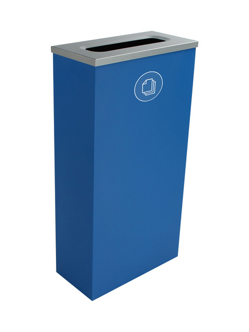 10 Gallon Steel Spectrum Slim Paper Collector Recycle Bin Blue 8107062-3