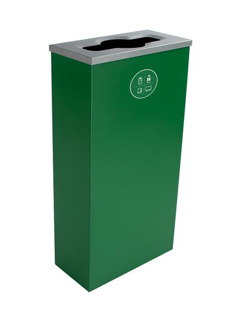 10 Gallon Steel Spectrum Slim Mixed Recycling Bin Green 8107060-2