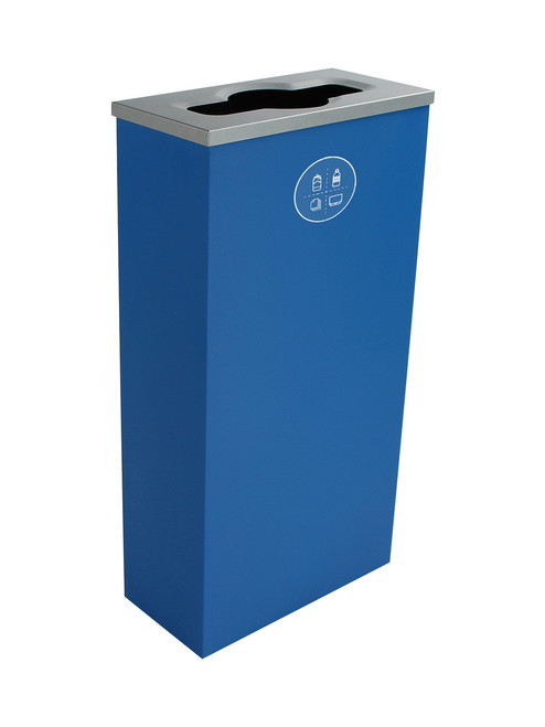10 Gallon Steel Spectrum Slim Mixed Recycling Bin Blue 8107059-2