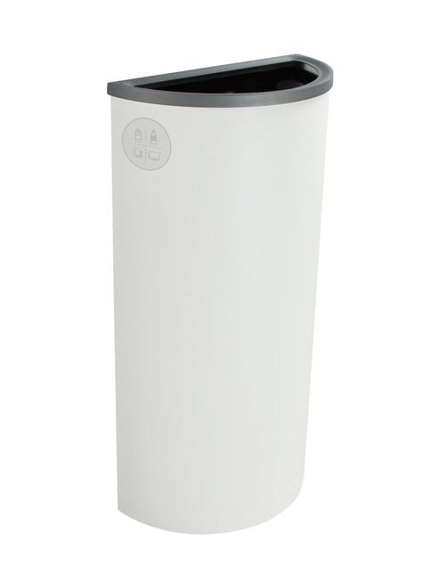8 Gallon Steel Spectrum Half Round Multi Recycle Bin White 8107025-4