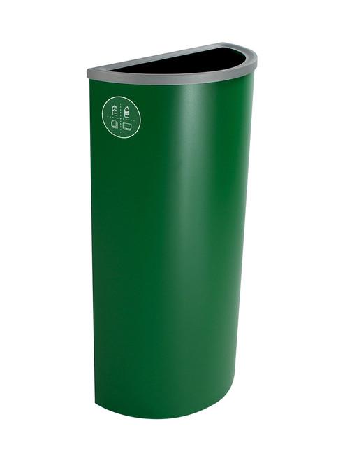 8 Gallon Steel Spectrum Half Round Multi Recycle Bin Dark Green 8107024-4