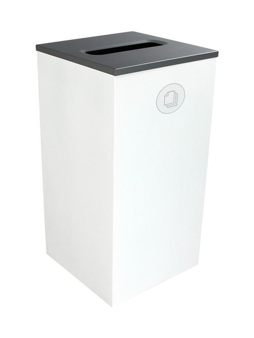 24 Gallon Steel Spectrum Cube Square Paper Collector White 8107047-3