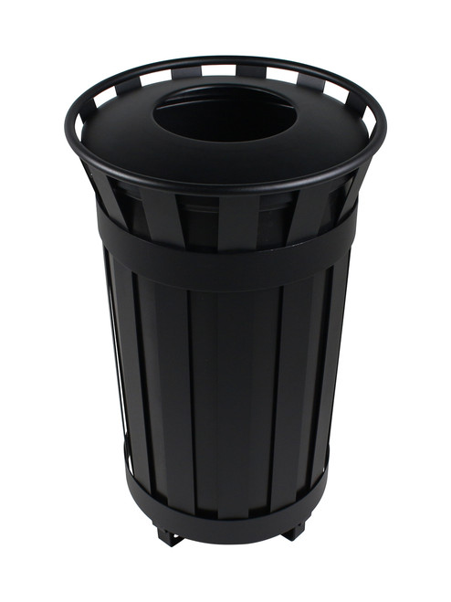 38 Gallon Flat Steel Denver Trash Can Black 101479