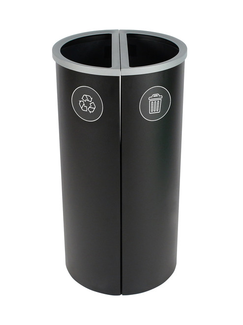 16 Gallon Spectrum Round Trash Can & Recycle Bin Black 8107089-44