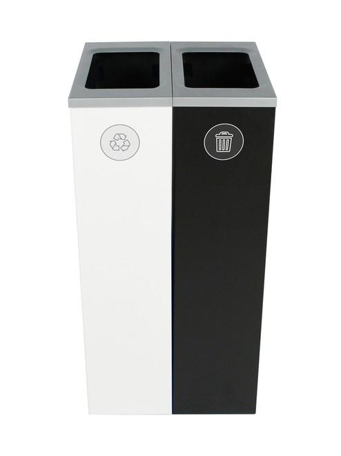 20 Gallon Spectrum Slim Dual Trash Can & Recycle Bin White/Black 8107098-44