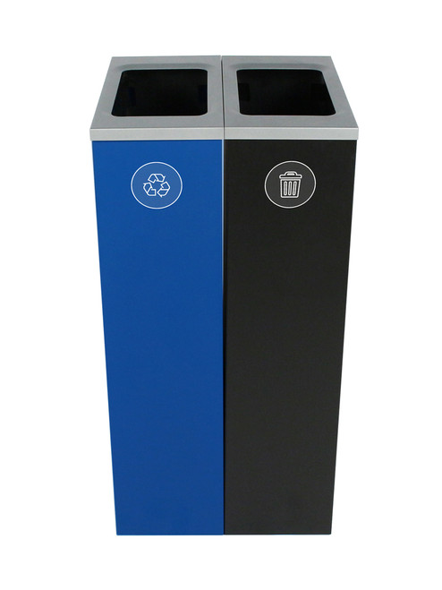 20 Gallon Spectrum Slim Dual Trash Can & Recycle Bin Blue/Black 8107095-44