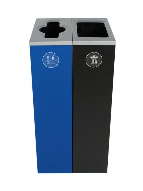 20 Gallon Spectrum Slim Dual Trash Can & Recycle Bin Blue/Black 8107094-24