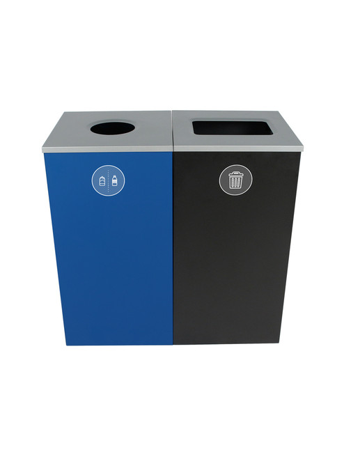 48 Gallon Spectrum Cube Dual Trash Can & Recycle Bin Blue/Black 8107090-14