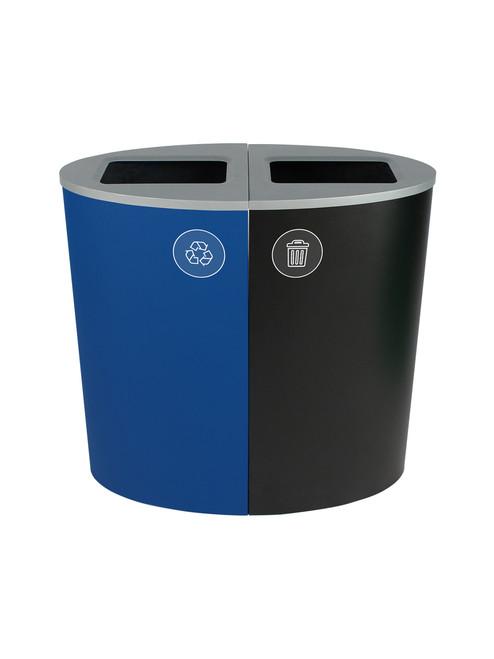 44 Gallon Spectrum Ellipse Dual Trash Can & Recycle Bin Blue/Black 8107076-44