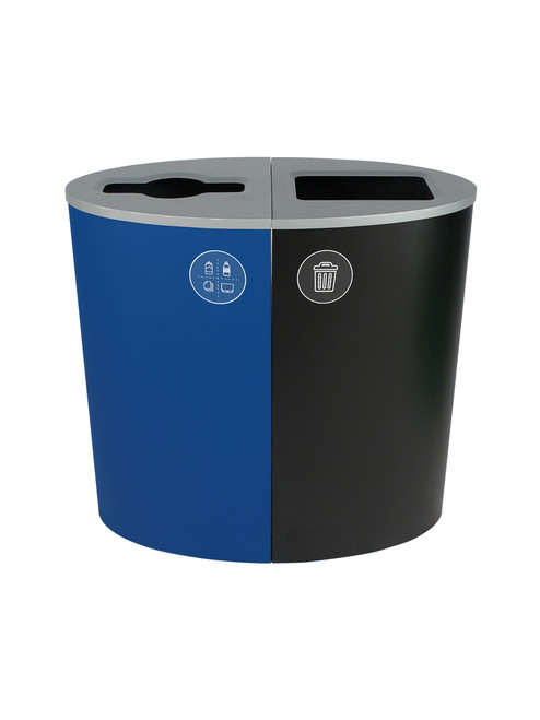 44 Gallon Spectrum Ellipse Dual Trash Can & Recycle Bin Blue/Black 8107075-24