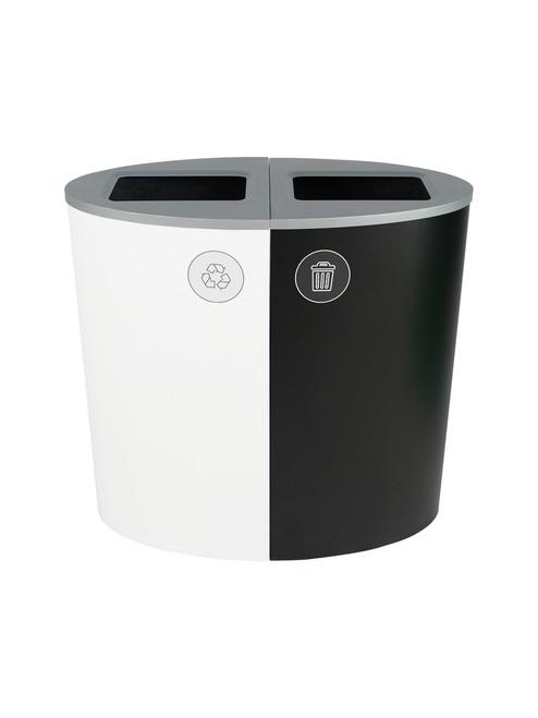 44 Gallon Spectrum Ellipse Dual Trash Can & Recycle Bin White/Black 8107079-44
