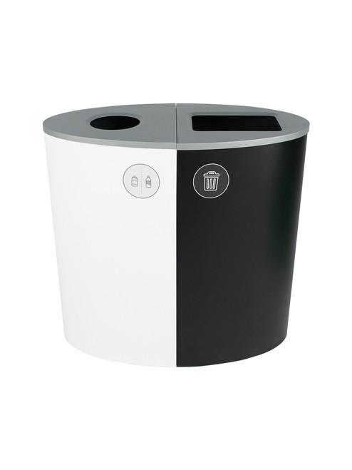 44 Gallon Spectrum Ellipse Dual Trash Can & Recycle Bin White/Black 8107077-14