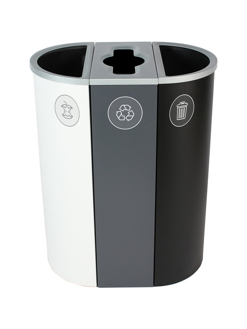 26 Gallon Spectrum Triple Recycling Station White/Gray/Black 8107112-424