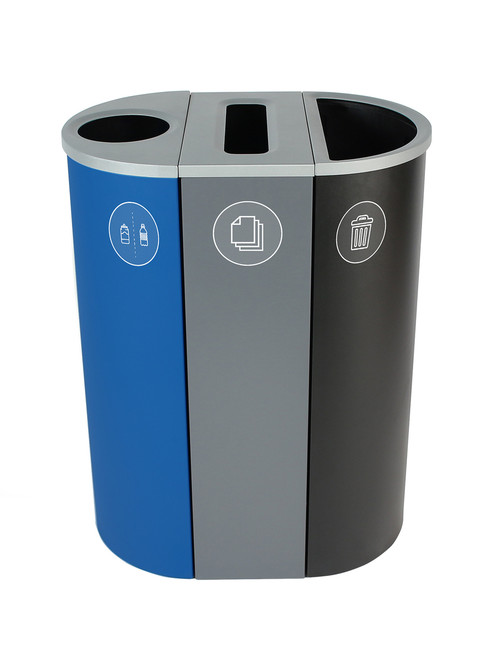 26 Gallon Spectrum Triple Recycling Station Blue/Gray/Black 8107109-134