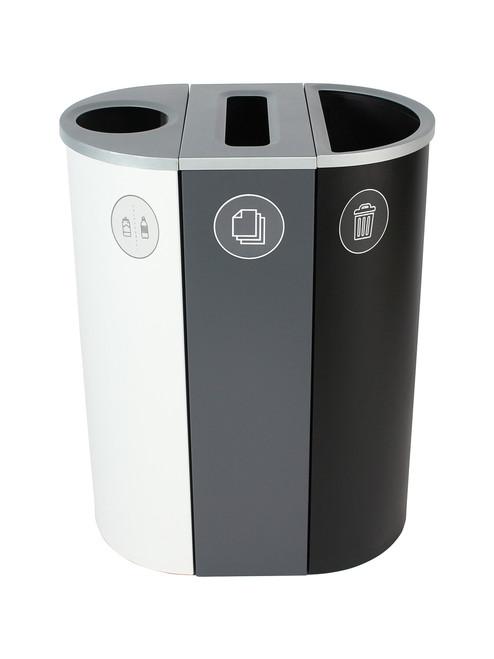 26 Gallon Spectrum Triple Recycling Station White/Gray/Black 8107110-134