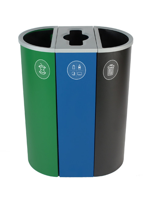 26 Gallon Spectrum Triple Recycling Station Green/Blue/Black 8107111-424