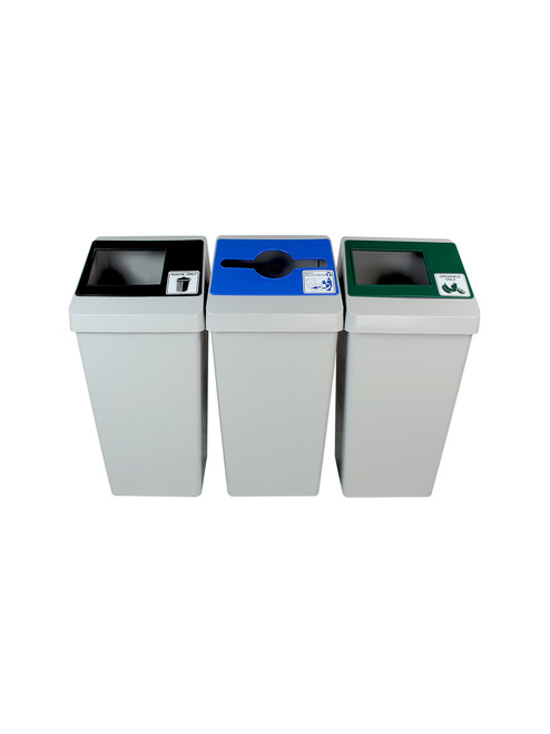 66 Gallon Smart Sort Triple 100851 (Waste Only, Mixed Recyclables, Organics Only)