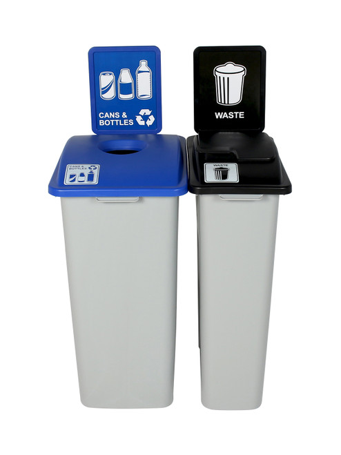 55 Gallon Simple Sort Trash Can Recycle Bin Combo 8111036-15 (Circle, Waste Lift Lid Openings)