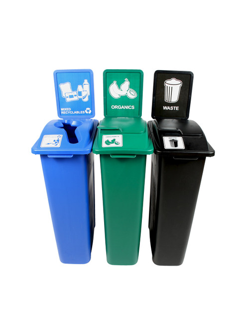 69 Gallon Simple Sort Skinny Recycling Station 8106052-255 (Mixed, Organics Lift Lid, Waste Lift Lid)