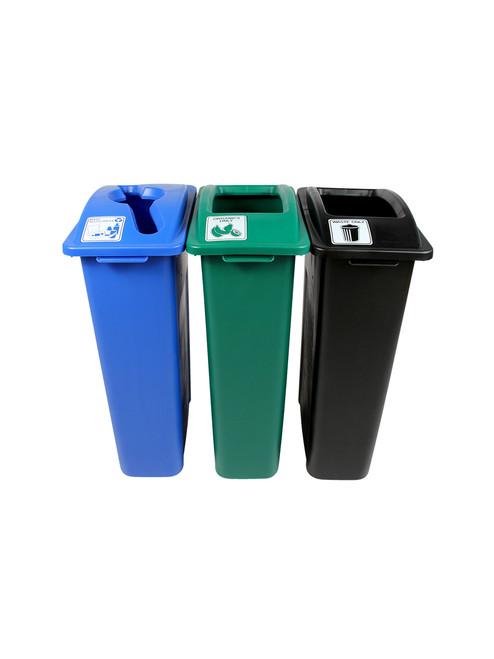 69 Gallon Simple Sort Skinny Recycle Bin Center 8106042-244 (Mixed, Organics, Waste)