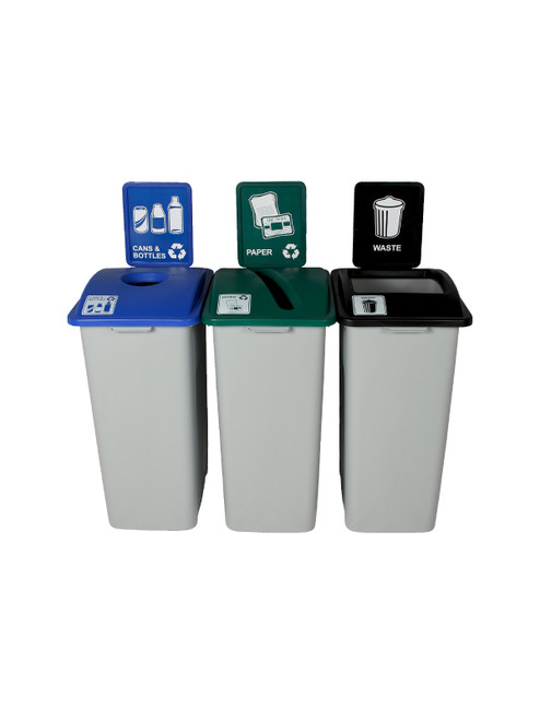 96 Gallon Simple Sort Skinny Recycling Center 8111056-134 (Cans, Paper, Waste)