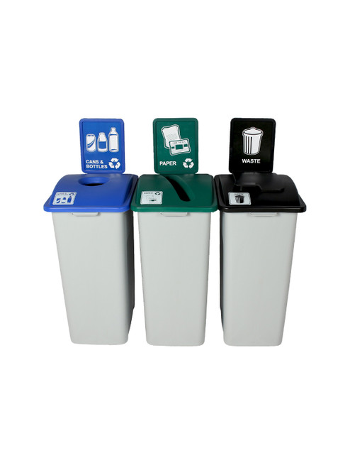 96 Gallon Simple Sort Skinny Recycling Center 8111057-135 (Cans, Paper, Waste Lift Lid)