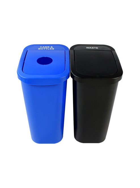 20 Gallon Billi Box Double Trash Can Recycle Bin Combo 8102020-14 (Circle, Swing Openings)