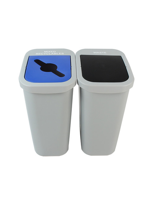 20 Gallon Billi Box Double Trash Can Recycle Bin Combo 8102026-24 (Mixed, Waste Swing Lid)