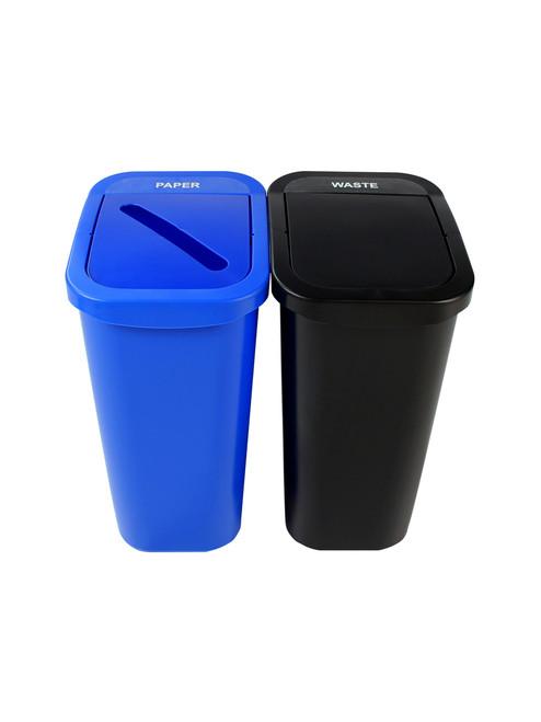 20 Gallon Billi Box Double Trash Can Recycle Bin Combo 8102022-34 (Slot, Swing Openings)