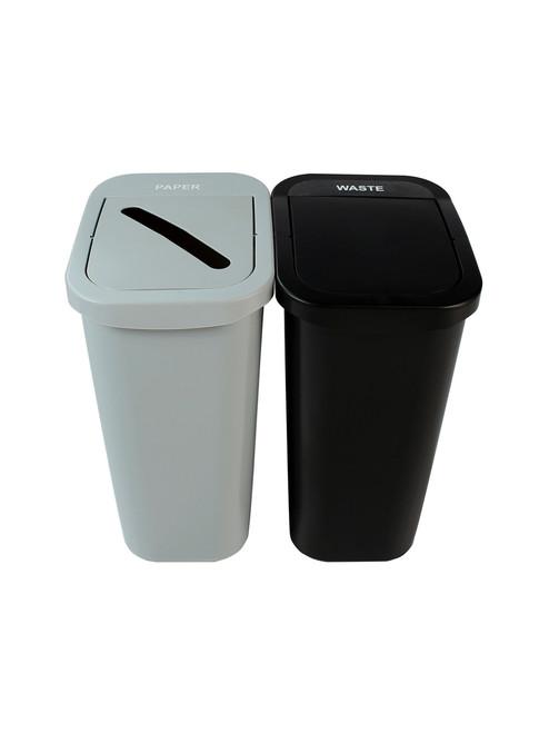 20 Gallon Billi Box Double Trash Can Recycle Bin Combo 8102024-34 (Paper, Waste Swing Lid)