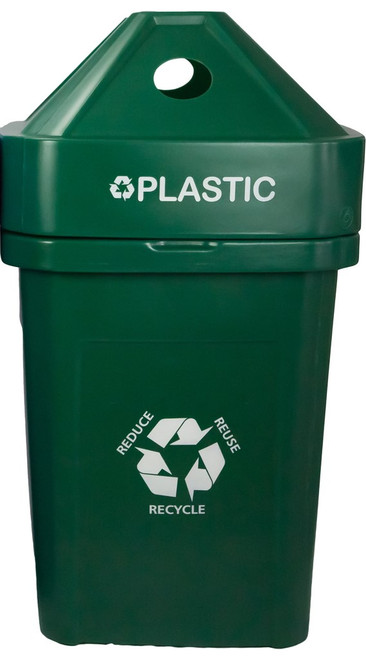 45 Gallon The Burly Indoor Outdoor Recycle Bin 8002825 (Green, Plastic)