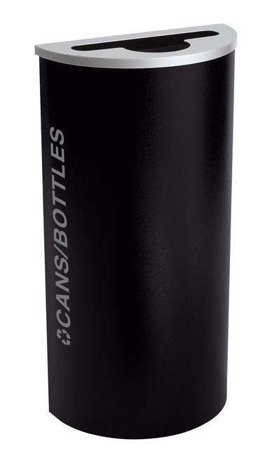 8 Gallon Kaleidoscope Half Round Black Tie Recycle Bin RC-KDHR-C-BT-PBG (Black, Cans/Bottles)