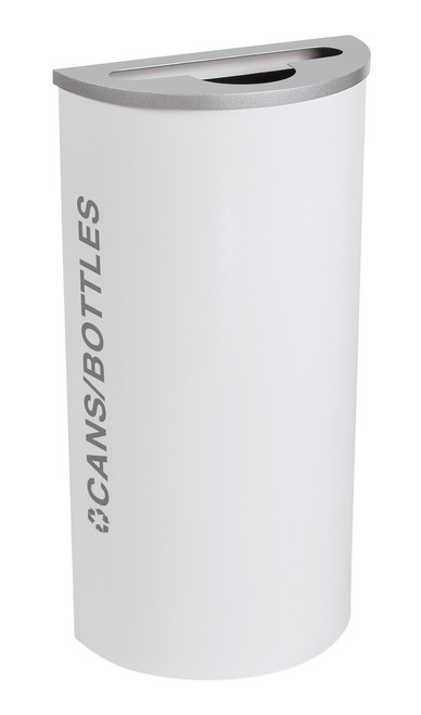 8 Gallon Kaleidoscope Half Round Black Tie Recycle Bin RC-KDHR-C-BT-WHT (White, Cans/Bottles)