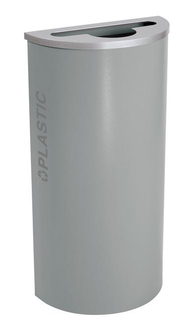 8 Gallon Kaleidoscope Half Round Black Tie Recycle Bin RC-KDHR-PL-BT-HMG (Gray, Plastic)