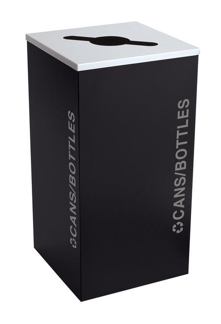 24 Gallon Kaleidoscope Square Black Tie Recycle Bin RC-KDSQ-C-BT-PBG (Black, Cans/Bottles)