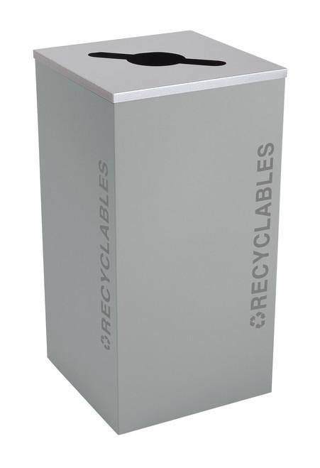 24 Gallon Kaleidoscope Square Black Tie Recycle Bin RC-KDSQ-R-BT-HMG (Gray, Recyclables)