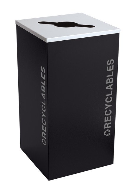 24 Gallon Kaleidoscope Square Black Tie Recycle Bin RC-KDSQ-R-BT-PBG (Black, Recyclables)