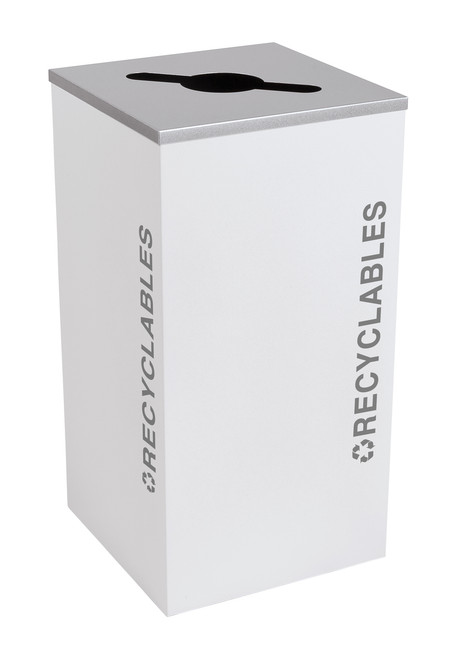 24 Gallon Kaleidoscope Square Black Tie Recycle Bin RC-KDSQ-R-BT-WHT (White, Recyclables)