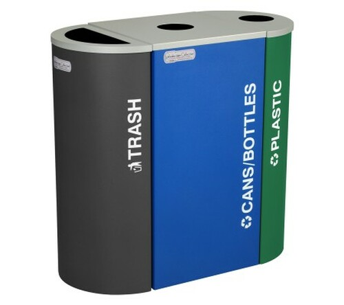 40 Gallon Kaleidoscope Triple Trash Can/Recycle Bin Combo RC-KDHR-RC-KDSQ-RC-KDHR