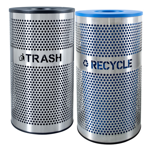 66 Gallon Perforated Stainless Steel Trash Recycle Combo VCT-33 PERF SS/VCR-33 PERF SS