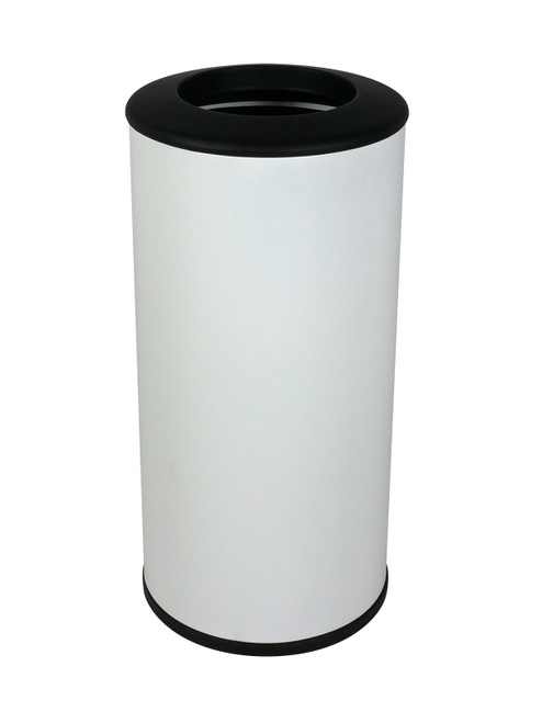 20 Gallon Steel Indoor Round Trash Can White 102110
