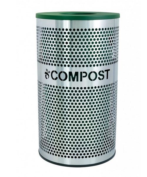 33 Gallon Perforated Stainless Steel Compost Bin VCC-33 PERF SS