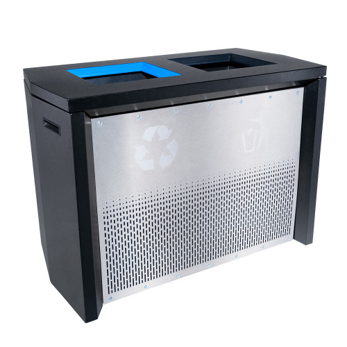 68 Gallon Coliseum Indoor Combo Trash and Recycle Receptacle RC-IND2 PBG/SS Angled