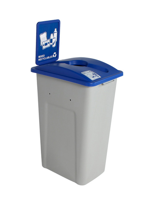 32 Gallon XL Simple Sort Recycling Bin with Sign (Mixed Recyclables)