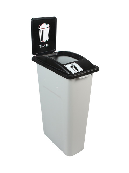23 Gallon Skinny Simple Sort Trash Can with Sign (Trash, Open Top)